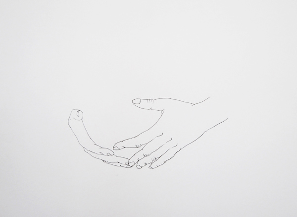 Line drawing hands and stomach